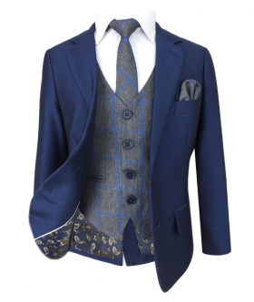 Designer Boys Navy Blue suit with Grey Blue Tweed Check Waistcoat Sets