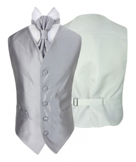 Romano Vianni Boys Silver Satin Waistcoat & Adjustable Cravat Set