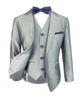 Front view of the Boys Romano Herringbone Patterned Slim Fit Suit in Light Grey