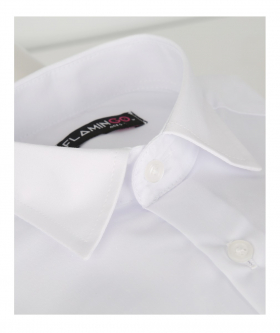 Flamingo Double Cuff Classic Collar White Shirt with Cufflinks