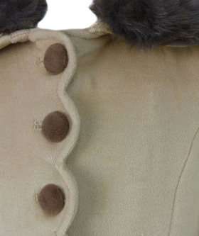 View of the buttons from the Designer Girls Beige Coat and Hat Set