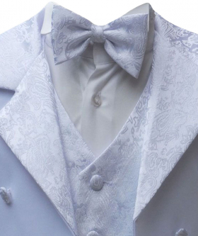 Boys White Tuxedo Tail Suit 5 Pieces Christening Wedding Page Boy Outfit