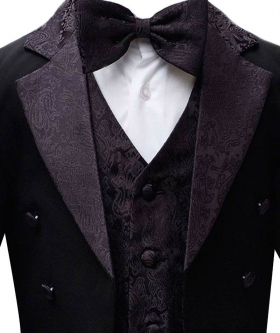 Boys Black Tuxedo Tail Suit 5 Pieces Christening Wedding Page Boy Outfit