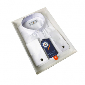 Boys Tailored Fit Wing Collar Cufflink Shirt in White