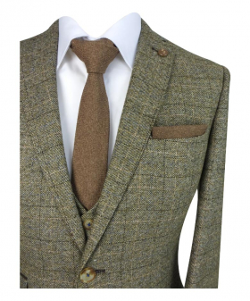 Mens Slim Fit  Tweed Check Blazer and waistcoat with accessories in Tan Brown detail picture