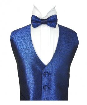 Flamingo Men's Boys Blue Slim Fit Swirl Wedding Waistcoat