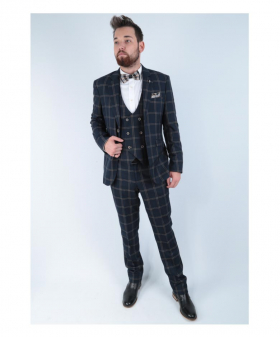 Men's Hardy Navy Blue Double Breasted Waistcoat Vintage Check Suit