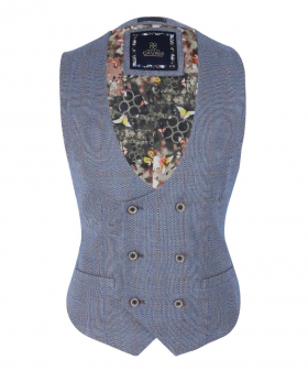 View of the Men's Slim Fit Windowpane Tweed Check Waistcoat inDel Ray Blue