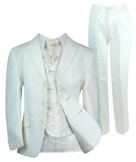 Boys All in One Communion Tailored Fit Ivory Suit