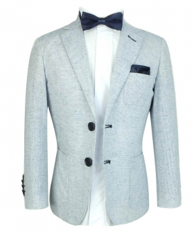 Boys Tweed Linen Jacket with accessories in Pale Blue  front picture