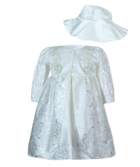 Baby Girls Embroidered Christening 3 Piece Dress Set in White front picture