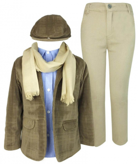Couche Tot Super Soft Suede like Checked Jacket 6 Piece Camel Brown Lightweight Outfit