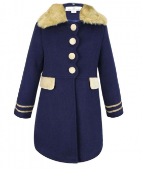 View of the coat and faux fur collar from the Designer Girls Navy Blue Coat and Hat Set