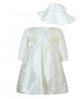 Baby Girls Embroidered Christening 3 Piece Dress Set in Ivory front picture