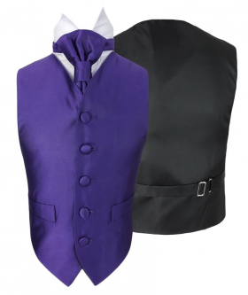 Romano Vianni Boys Purple Satin Waistcoat & Adjustable Cravat Set
