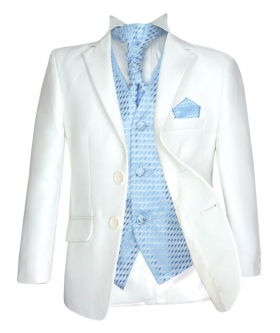 5PC Wedding Prom Pageboy Suit in Cream & Choice of Waistcoat