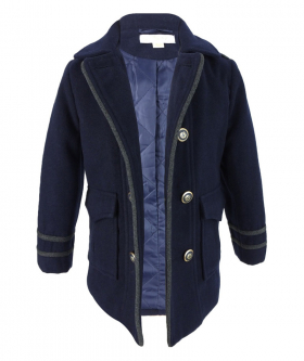 Couche Tot Boys Coat and Hat Set in Navy Blue open view