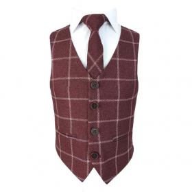 View of the tie with shirt and waistcoat from the Boys Slim Check Tweed Tie and Hanky - Maroon