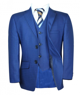 Open front view of the Boys Tailored Fit Checkered Blue Suit