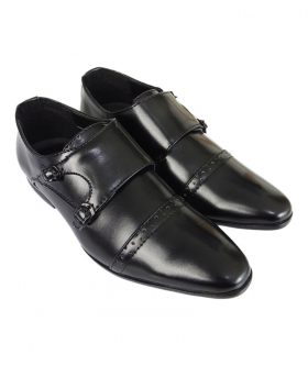 Side view of the Boys Double Monk Shoes in Black