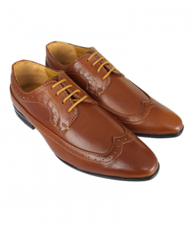 Romano Vianni Tan Brown Pointed Brogue Shoes