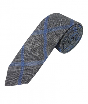 Boys Slim Check Tweed Tie and Hanky - Grey and Blue rolled view of the tie