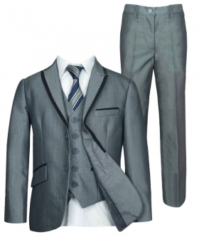Light Grey Piping Suit 3 or 5 Piece