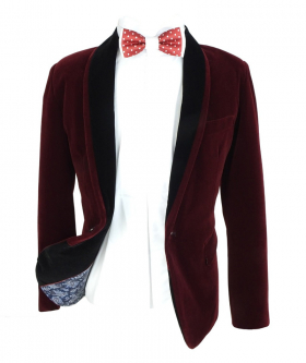 Open view of the blazer jacket with a shirt and bow tie from the Boys Burgundy Velvet Blazer with a Black Contrast Shawl Lapel Blazer