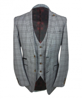 Mens Slim Fit Check blazer and waistcoat  in Light Grey front Picture