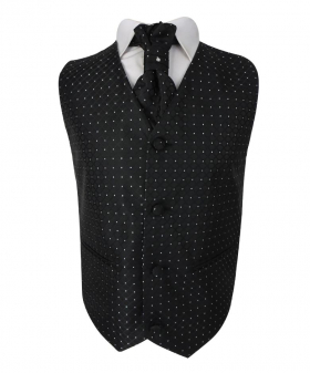 Boys 4 Piece Diamond Design Wedding Waistcoat Suit in Black