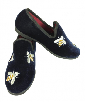 View of the Romano Boys Velvet Slip On Navy Loafers with Embroidered Bees