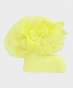 Baby Girls Ruffle Bow Yellow Ankle Socks Detail Picture