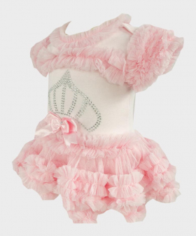 Baby Girl Tulle Cotton Bodysuit in Pink