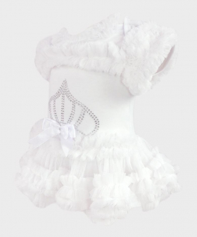 Baby Girl Tulle Cotton Bodysuit in White Side Picture