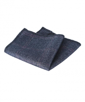 View of the Mens & Boys Check Tweed Pocket Handkerchief in Charcoal Grey