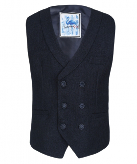 Flamingo Mens Boys Navy Blue Herringbone Tweed Waistcoat Sets