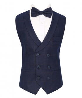 Flamingo Men's Boys Navy Blue Tweed Check Waistcoat Sets
