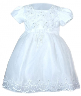 View from the dress of the Baby Girls Embroidered Christening Dress in White front picture