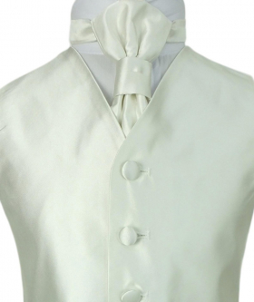 Romano Vianni Boys Ivory Satin Waistcoat & Adjustable Cravat Set