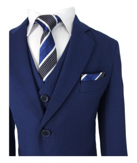 Joe Cooper Boys Navy Blue All in One Check Suit