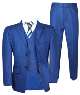 Front view ofe the jacket and trousers of the Boys Tailored Fit Checkered Blue Suit