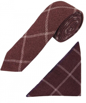View of the tie and hanky of the Boys Slim Check Tweed Tie and Hanky - Maroon