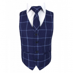 View of the tie with shirt and waistcoat from the Boys Slim Check Tweed Tie and Hanky - Navy Blue
