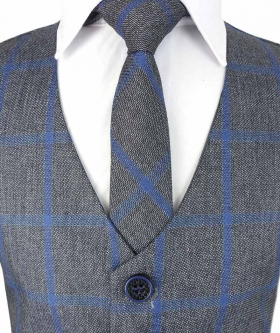 Near view of the Boys Check Waistcoat Set in Grey and Blue