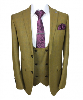 Paul Andrew Mens Camel Brown Windowpane Check Suit