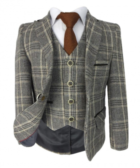 Front view of the Beau KiD Boys Herringbone Tweed Brown Check Suit with Elbow Patches