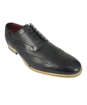 Mens Signature Lace up Black Leather Brogues