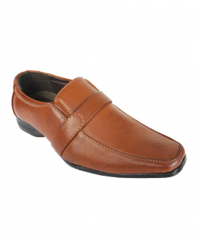 View of the right shoe from the Robert Simon Boys Formal Tan Brown Slip on Shoes