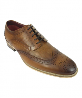 View from the left shoe of the Men's Signature Brown Lace up Leather Oxford Shoes