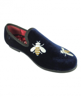 Left shoe view of the Romano Boys Velvet Slip On Navy Loafers with Embroidered Bees